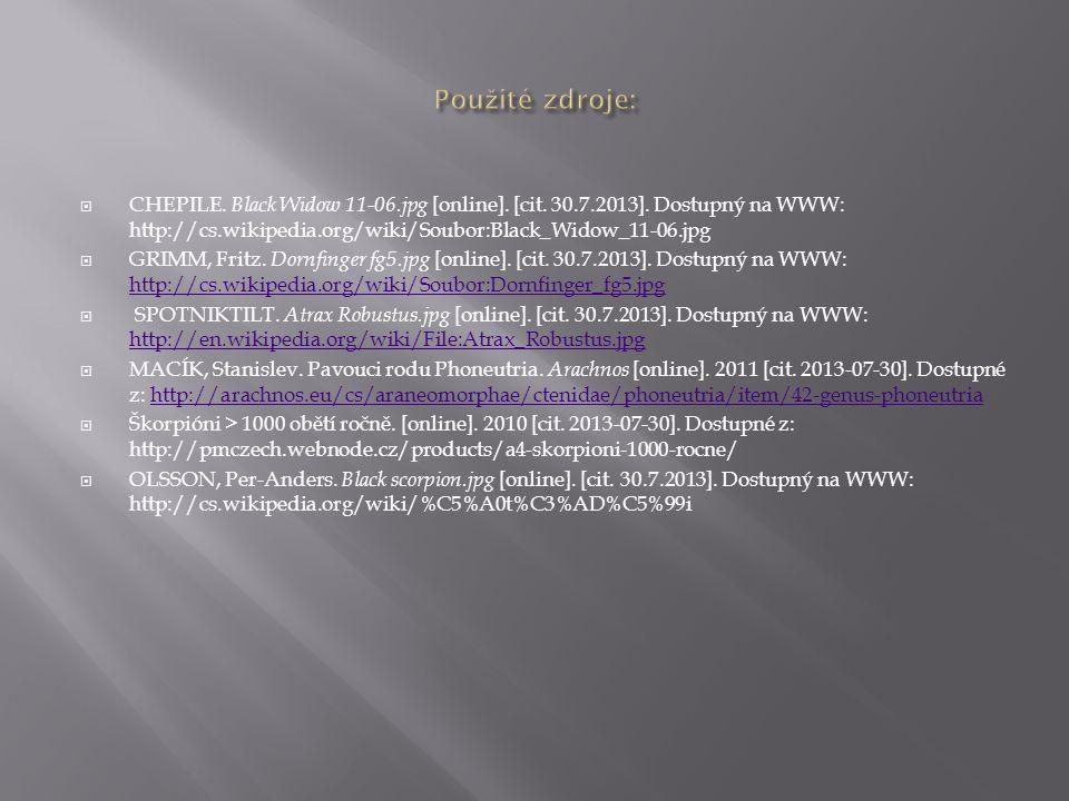Použité zdroje: CHEPILE. Black Widow 11-06.jpg [online]. [cit. 30.7.2013]. Dostupný na WWW: http://cs.wikipedia.org/wiki/Soubor:Black_Widow_11-06.jpg.